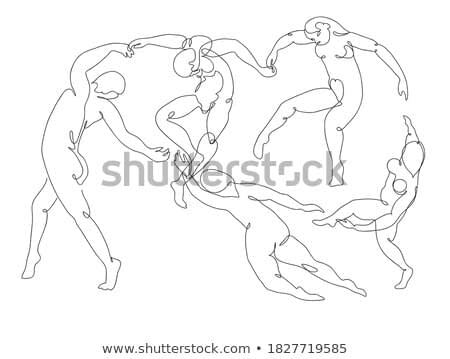 Continuous line drawing Matisse Dance masterpiece of impressionism painting inspired. Black and white hand drawn line art. Abstract outline illustration