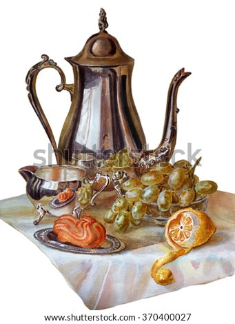 Tea still life in the Dutch style. Teapot, creamer, lemon, cake, tablecloth isolated on white background. Watercolor painting.