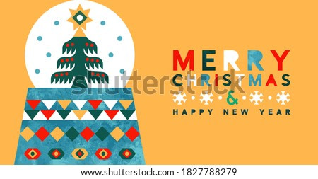 Merry Christmas Happy New Year greeting card illustration of scandinavian art snow globe tree with colorful watercolor shapes. Abstract geometric design for festive xmas celebration.