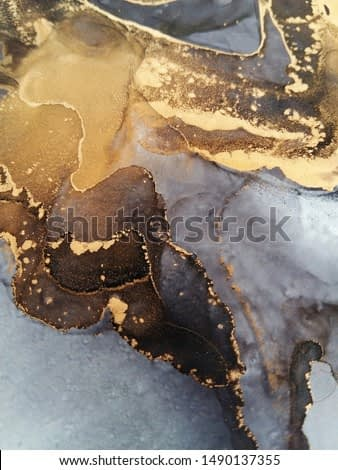 Luxury abstract fluid art painting background alcohol ink technique black and gold