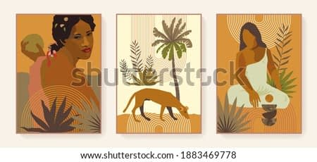 Boho style triptych. Exotic prints. Polynesian Tahiti culture. Bohemian tropical feminine posters. Gauguin inspired boho wall art home decor. Earth tones terracotta mustard colors. Vector wall prints