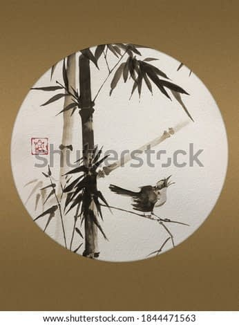 A small bird on a bamboo branch. Traditional Japanese ink painting sumi-e in a round frame. Illustration.