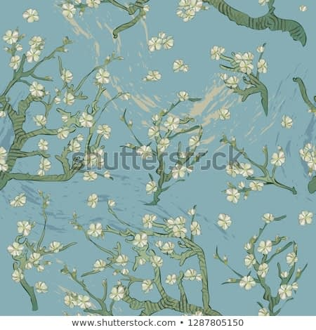 Spring almond branch, flowers pattern in vector. Blooming tree vintage. Boho style. By pictures Vincent Van Gogh almond branch retro.