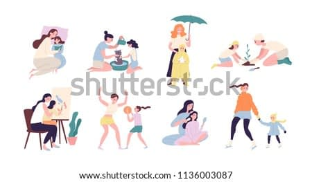 Mother and daughter performing daily activities together - reading book, planting tree, walking under rain, playing sports game, ice-skating, painting, washing cat. Flat colored vector illustration