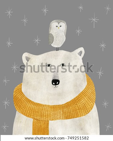 watercolor and pencil drawing of a polar bear with an owl on his head. Christmas illustration