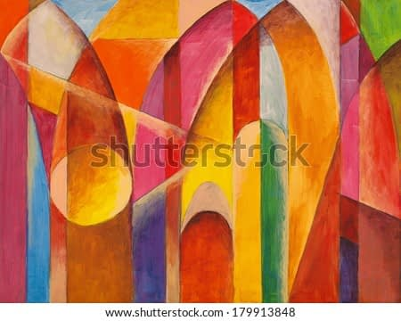 an abstract painting, bright colors and shapes suggestive of architecture.