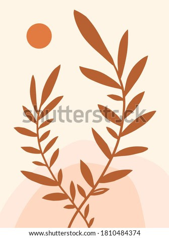 Abstract composition with leaves. Vector illustration. Bohemian poster. Mid century art print.