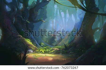 Enchanted Forest Game Background Illustration, Realistic Style Concept