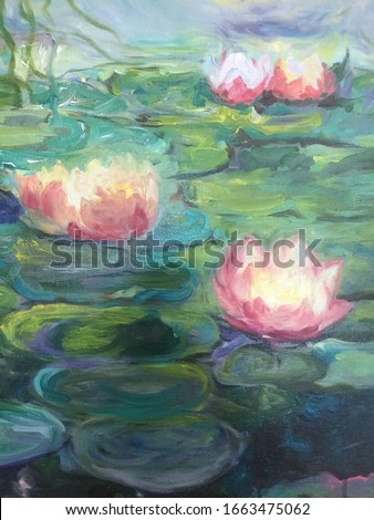 lotus in water impressionism background texture painting