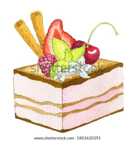 Hand painted watercolor layered cake decorated with berries, flowers and mint leaf, cherry, strawberry, raspberry isolated on the white background