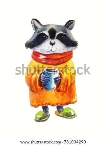 cute raccoon in sweater with cup of coffee on white background. watercolor illustration or postcard