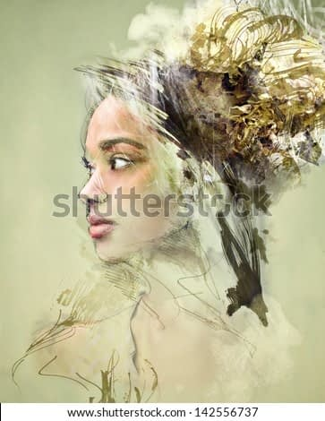 portrait painting of beautiful african woman