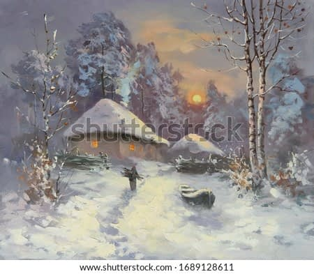 winter snowy evening with the setting sun,fine art, oil painting, rural landscape, village, tree, winter, snow, nature