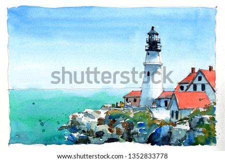 watercolor painting set of portland head lighthouse, hand drawn on paper