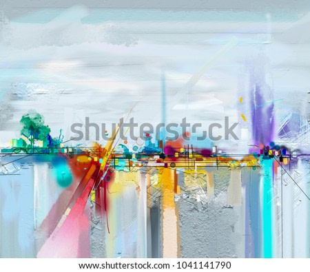 Abstract oil painting landscape. Colorful blue purple sky. Oil painting outdoor on canvas. Semi abstract tree ,field, meadow. Abstraction Landscape nature, contemporary art for background