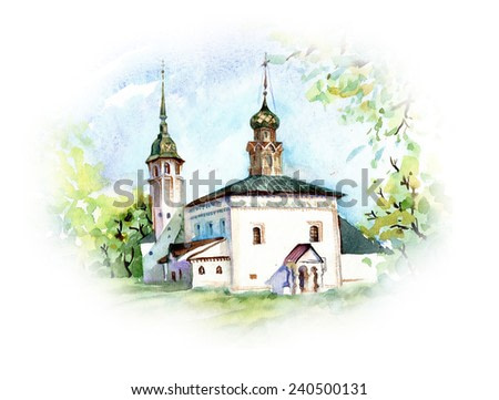 Watercolor Painting. Orthodox Church. Vector illustration