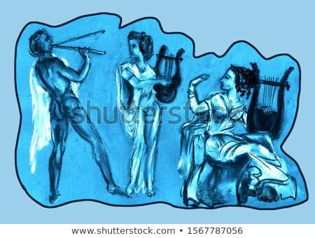 A series of musical instruments. Ancient Greek musicians a young man and a girl play Avlos, Lyre and Kifar.