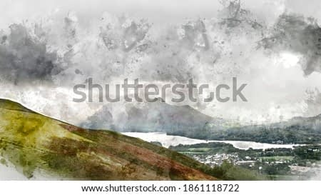 Digital watercolor painting of Beautiful landscape image across Derwentwater valley with falling rain drifting across the mountains onto the lush green countryside below