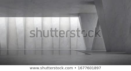 Abstract of concrete space with sun light cast the shadow on the wall ,Geometric structure, Museum space,Perspective of brutalism  architecture,3d rendering.