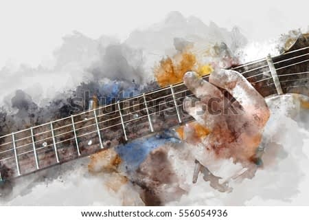 Abstract beautiful man playing acoustic guitar on Watercolor painting background and Digital illustration brush to art.