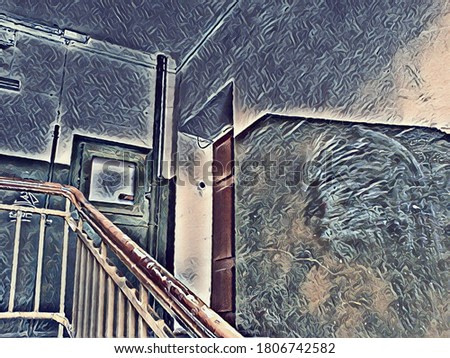 Stairs in the entrance of an old residential building in the style of painting and Grey Art Effect