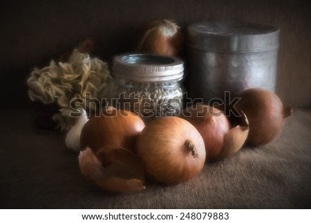 Still life painterly illustration of onions in an old kitchen setting, in the manner of dutch old masters of painting