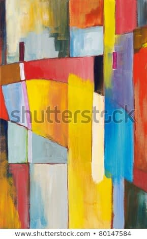 An abstract painting; bright blocks of color in a composition suggestive of a bridge-like structure.