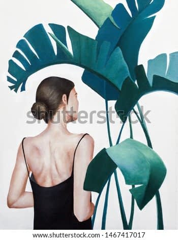 acrylic painting of woman with green plants