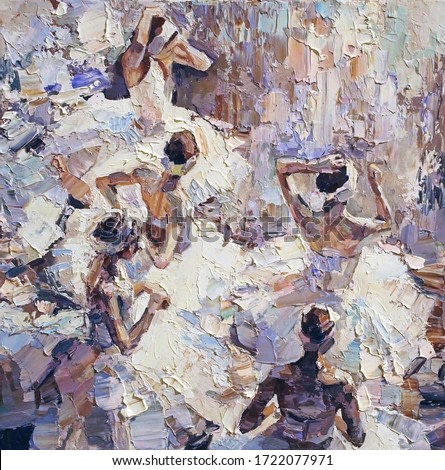 Group of dancers in the lush white ballet tutus are preparing for the performance on stage, view from above. Palette knife technique of oil painting and brush.