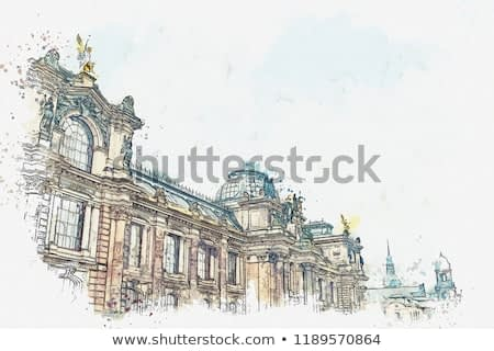 A watercolor sketch or illustration. Palace Albertinum or a gallery of new masters or an art gallery in Dresden in Germany. The building was built in the 16th century.
