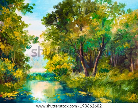 Oil Painting of forest landscape - pond in the forest. Abstract drawing