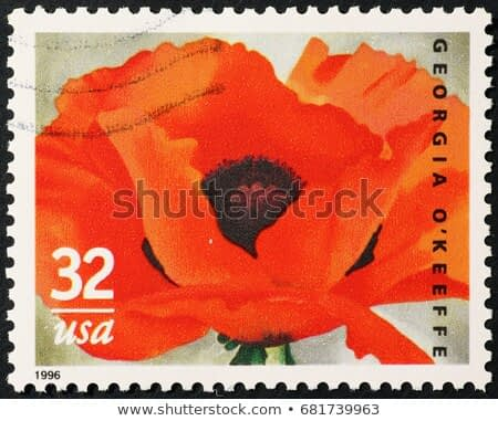 Milan, Italy - July 20, 2017: Poppy painted by Georgia O'Keeffe on postage stamp