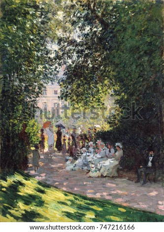 The Parc Monceau, by Claude Monet, 1878, French impressionist painting, oil on canvas. Monet applied the paint in small daubs over the entire canvas that reduced the illusion of the volumes and space
