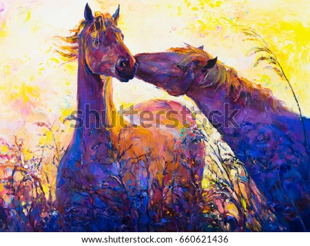 Oil painting on canvas. Horses. Modern art.