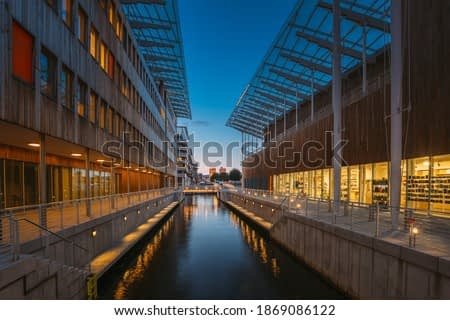 Oslo, Norway. Astrup Fearnley Museum of Modern Art, Residential Multi-storey Houses In Aker Brygge District In Summer Evening. Famous And Popular Place.