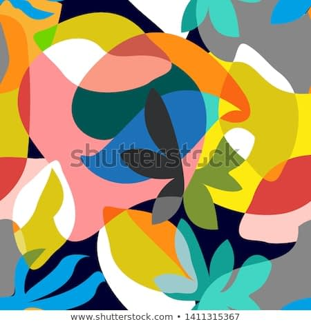 Abstract tropical painting. Seamless vector pattern with geometric leaves and flowers. Summer swimwear textile collection. Colorful on dark.