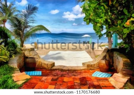 Oil painting. Art print for wall decor. Acrylic artwork. Big size poster. Watercolor drawing. Modern style fine art. Art for sale. Beautiful summer landscape. Exotic tropical resort.  Paradise. Palms.