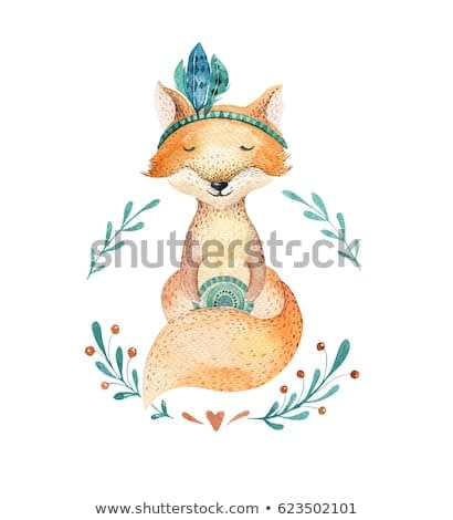 Cute baby fox animal, nursery isolated illustration for children clothing, pattern. WatercolorHand drawn boho image Perfect for phone cases design, nursery posters, postcards and other.