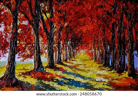 Oil painting - colorful autumn forest