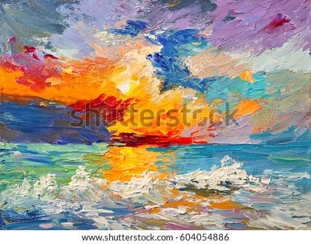 Oil painting of the sea, multicolored sunset on the horizon, watercolor