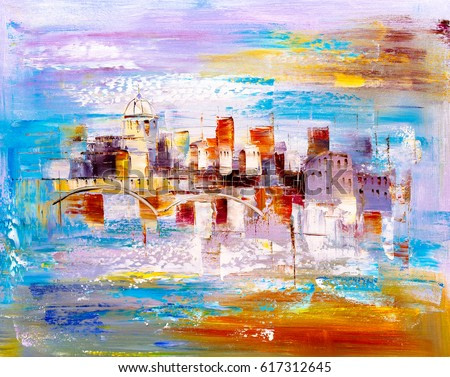 Oil Painting - City View of Prague