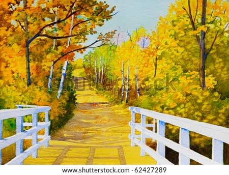 An original watercolor painting inspired by a beautiful,  Autumn colored, trail in Northern Saskatchewan.