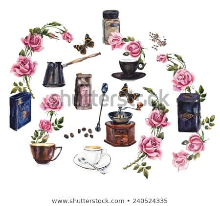 Coffee Time. Turkish coffee pot, mechanical coffee grinder and a rose branch, butterflies.  Watercolor hand drawn illustration.