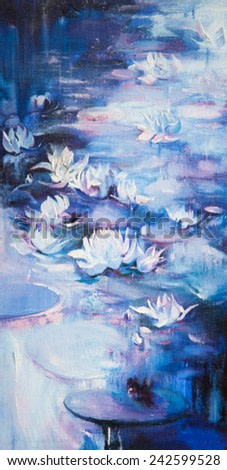 An oil painting on a water lily in a pond with colorful leafs and bright blossom.