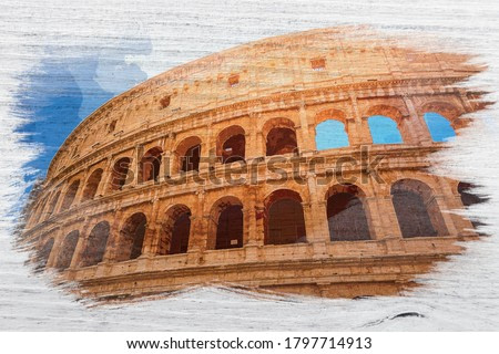 Stunning Colosseum in Rome, Italy, watercolor painting