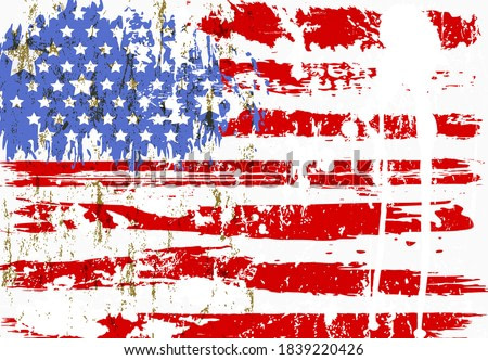 abstract background design, with paint strokes, splashes, stars and stripes, grungy, USA flag