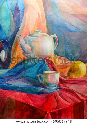 Still life kettle and mug watercolor