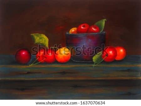 Realistic oil painting of cherries on a table top still life setting