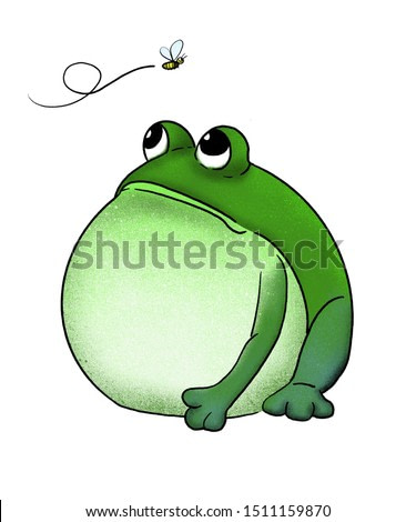 Frog stare at the flying insects. isolated on white background. cartoon, digital painting.