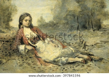 Algerienne, Camille Corot, 1871-73, French painting, oil on panel. Young Algerian woman reclining on a panther skin